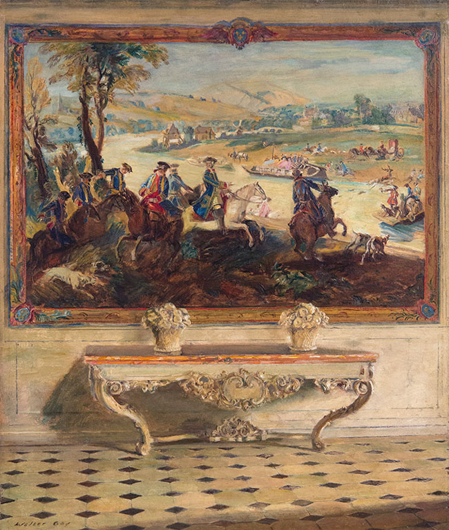 WALTER GAY La Chasse Louis XV Tapestry, Château de Fontainbleau Oil on board 25½  x 21¼ inches (64.7 x 54 cm) SOLD