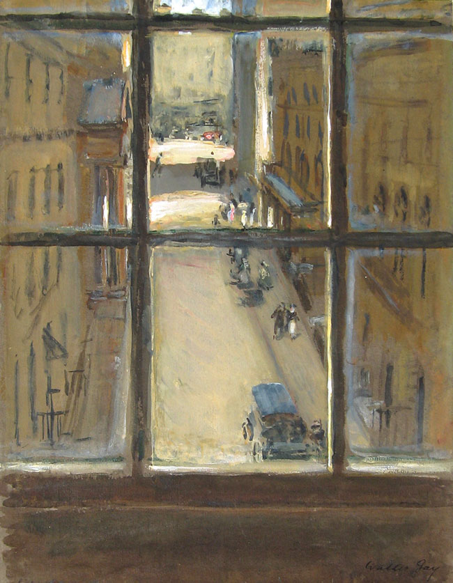 WALTER GAY View from Garlant's Hotel towards Pall Mall, London Gouache on paper 14 x 11 inches (35.5 x 28 cm) SOLD