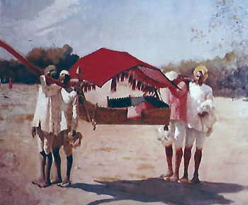 EDWIN LORD WEEKS    Palanquin and Bearers - Agra   Oil on canvas 20 x 24 inches (50.8 x 61 cm.)  SOLD