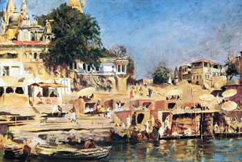 EDWIN LORD WEEKS    Temples and Bathing Ghat - Benares, India   Oil on canvas 18½ x 28 inches (47 x 71 cm.)  SOLD