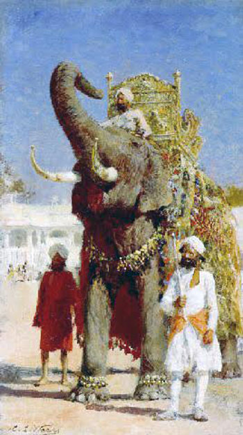 EDWIN LORD WEEKS    The Rajah's Elephant   Oil on board 11½ x 6¾ inches (29.5 x 17.2 cm.)  SOLD