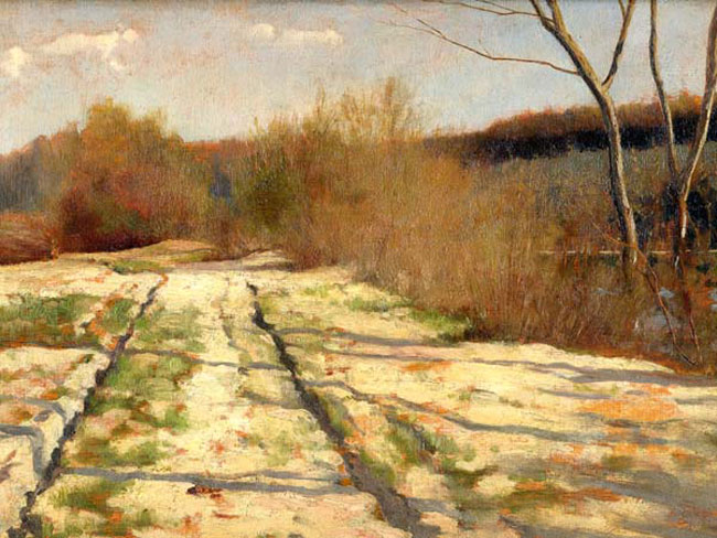 LOUIS WELDEN HAWKINS  Winter Shadows   Oil on panel 9¼ x 12¾ inches (23.5 x 32.7 cm.)  SOLD