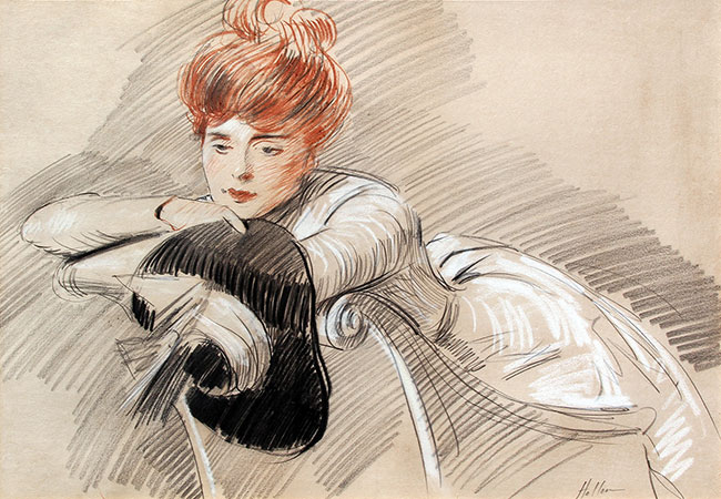 PAUL CÉSAR HELLEU    Portrait of Madame Helleu   Sanguine, black and white chalk on paper 18 x 24 inches (73.5 x 91.5 cm.)  SOLD