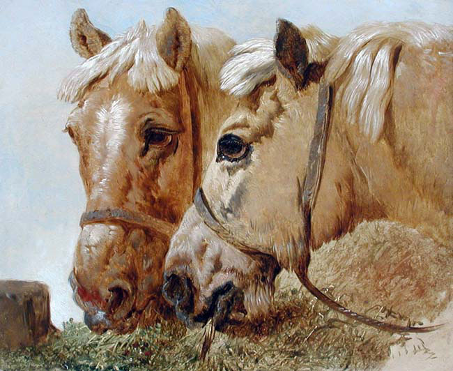 JOHN FREDERICK HERRING, SENIOR    Carthorses Feeding   Oil on academy board 10 x 12 inches (25.5 x 30.5 cm.)  SOLD