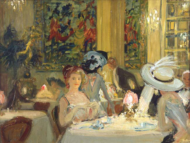 CHARLES HOFFBAUER  Dinner at Delmonico's, New York   Oil on canvas 18 x 24 inches (45.7 x 61 cm.)  SOLD