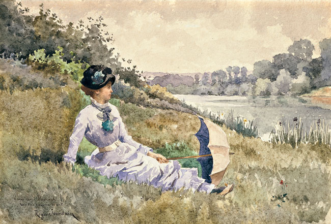 ROGER JOURDAIN  On the Riverbank   Watercolor on paper 7¼ x 10¾ inches (18.3 x 27.2 cm.)  SOLD