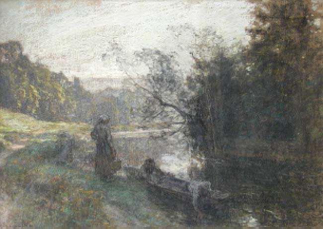 LÉON AUGUSTIN LHERMITTE  Printemps au Marne   Pastel on paper 14¼ x 19¾ inches (36 x 50.4 cm.)  SOLD