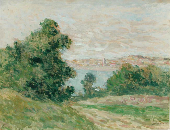 MAXIMILIEN LUCE  A River Landscape   Oil on paper laid down on canvas 12¼ x 15½ inches (31.4 x 39.3 cm.)  SOLD