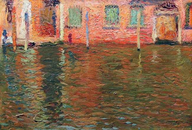 HENRI MARTIN  Reflections, Venice   Oil on panel 14¾ x 21½ inches (37.5 x 54.6 cm.)  SOLD