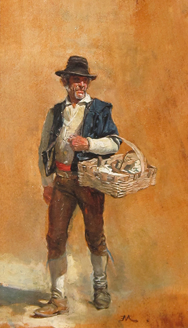 JEAN-LOUIS ERNEST MEISSONIER Father Batti Oil on panel 7¼ x 4¼ inches (18 x 10 cm.) SOLD