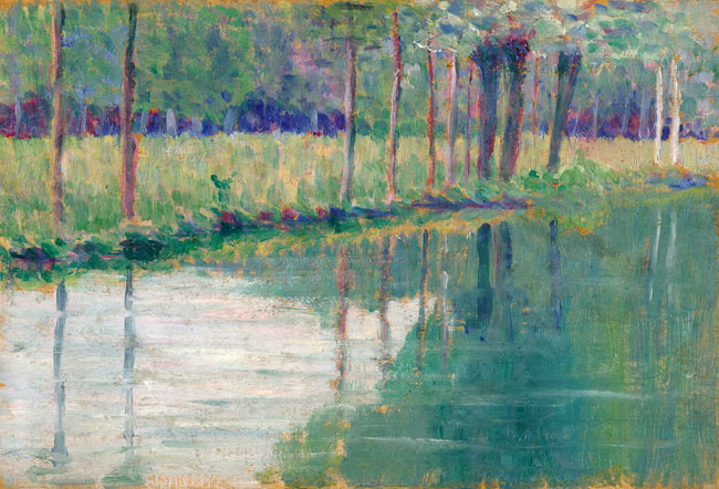 THOMAS BUFORD METEYARD  Riverbank, Giverny  (c. 1890-93)  Oil on panel 5½ x 7¾ inches (14 x 19.5 cm.)  SOLD