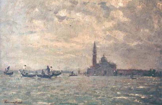EMMA CIARDI    San Giorgio, Venezia   Oil on panel 14½  x 19½ inches (36.2 x 49.5 cm.)  SOLD