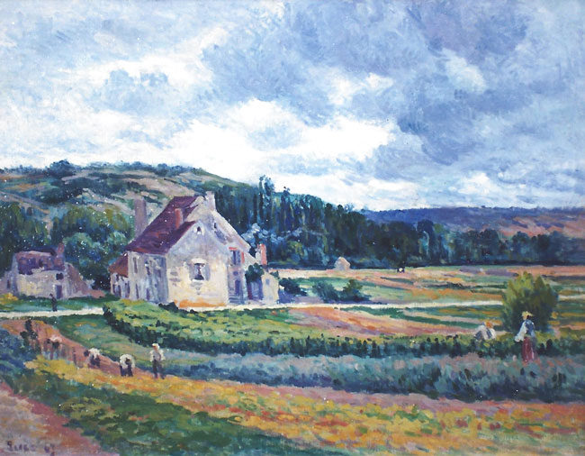 MAXIMILIEN LUCE    Moulineux, Paysage avec Maisons   Oil on canvas 19½ x 25 inches (49.5 x 63.5 cm.)  SOLD