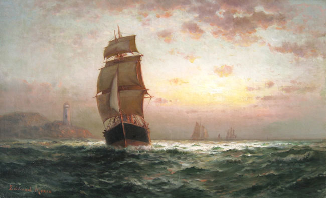 EDWARD MORAN  Shipping at Sunset   Oil on canvas 16 x 26 inches (40.7 x 66 cm.)  SOLD