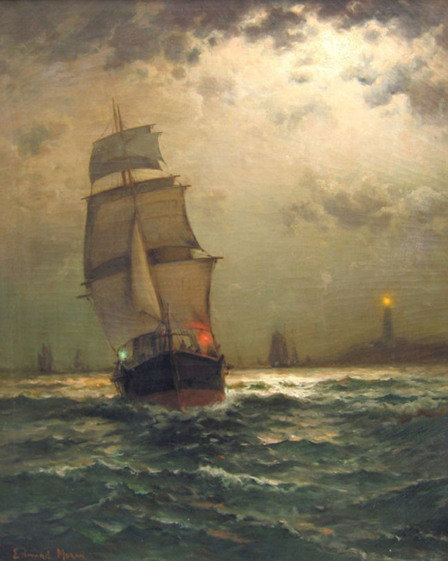 EDWARD MORAN  Lighthouse Point   Oil on canvas 27 x 22 inches (68.5 x 55.8 cm.)  SOLD