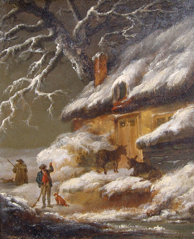 GEORGE MORLAND  A Cottage in Winter   Oil on panel 7 x 5½ inches (18 x 14 cm.)  SOLD
