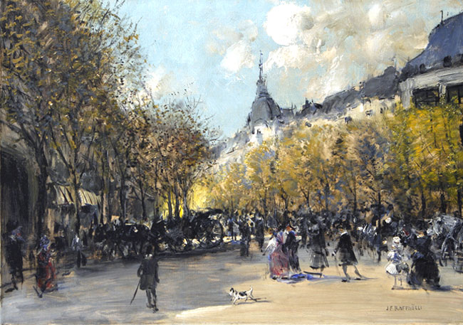 JEAN-FRANÇOIS RAFFAËLLI    Le Carrefour Drouot, Paris   Oil on canvas 19¾ x 27½ inches (49.5 x 70cm.)  SOLD