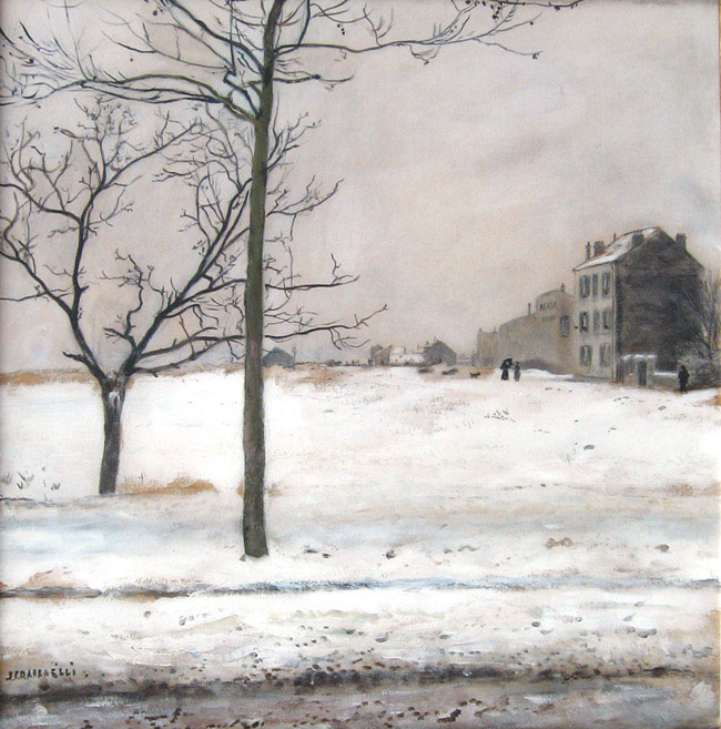 JEAN-FRANÇOIS RAFFAËLLI    Montmatre en Hiver   Oil on paper 16¼ x 16¼ inches (55.8 x 54.6 cm.)  SOLD