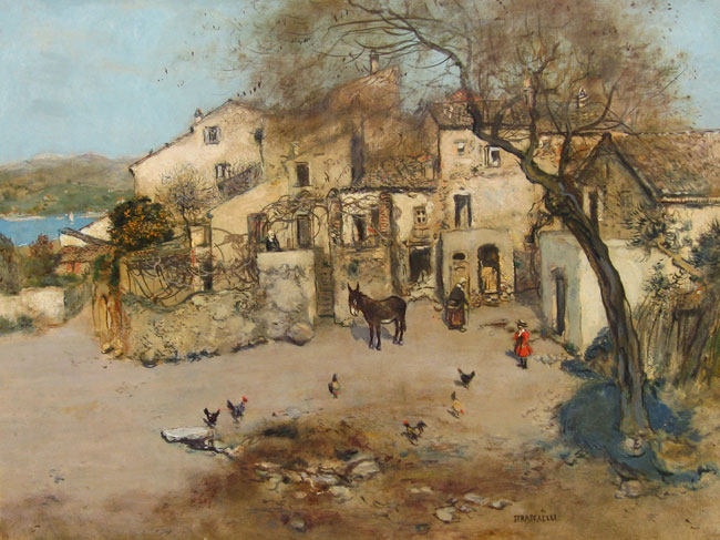 JEAN-FRANÇOIS RAFFAËLLI    A Mediterranean Courtyard   Oil on board 26 x 34 inches (66 x 86.3 cm.)  SOLD