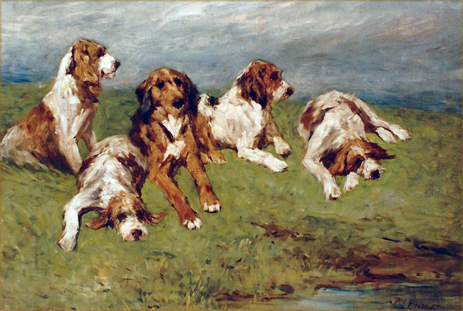 JOHN EMMS    Hounds at Rest   Oil on canvas 13 x 19 inches (33 x 48.2 cm)  SOLD