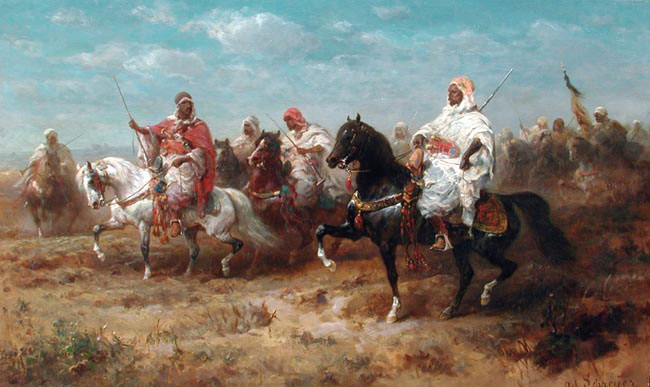 ADOLPHE SCHREYER  Bedouins on the March   Oil on canvas 23 x 38 inches (58.3 x 96.5 cm.)  SOLD