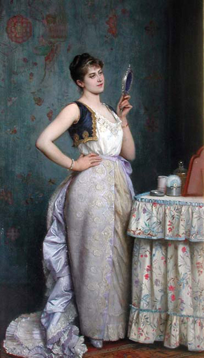 AUGUSTE TOULMOUCHE  La Toilette   Oil on canvas 21¾ x 12½ inches (55.3 x 31.8 cm.)  SOLD