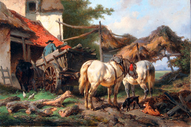 WOUTERUS VERSCHUUR    Outside the Stable   Oil on panel 6½ x 9¾ inches (16.5 x 24.7 cm.)  SOLD