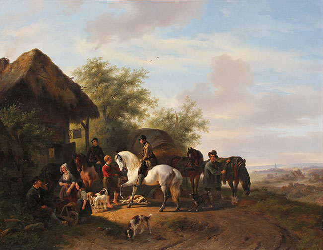 WOUTERUS VERSCHUUR    A Halt at the Inn   Oil on canvas 30¼ x 39¼ inches (76.8 x 99.7 cm.)  SOLD