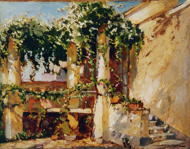 CONSTANTIN WESTCHILOFF The Courtyard Oil on board 10½ x 13½ inches (26.8 x 34.3 cm.) SOLD