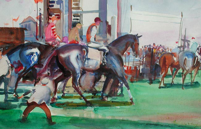 JOHN WHORF    At the Races   Watercolor on paper 12 x 18 inches (30 x 45.5 cm.)  SOLD