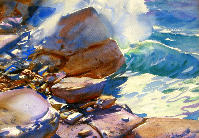 JOHN WHORF    Crashing Waves   Watercolor on paper 14½ x 20½inches (36.6 x 52 cm.)  SOLD