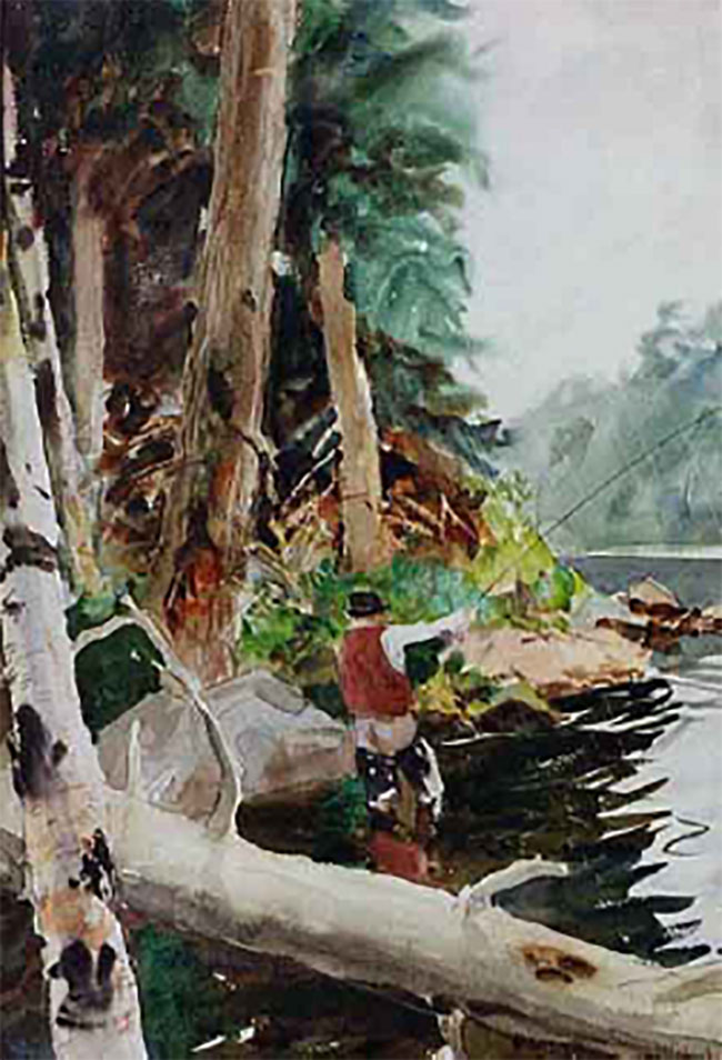 JOHN WHORF    Fisherman Casting   Watercolor 22 x 15 inches (55.8 x 38 cm)  SOLD