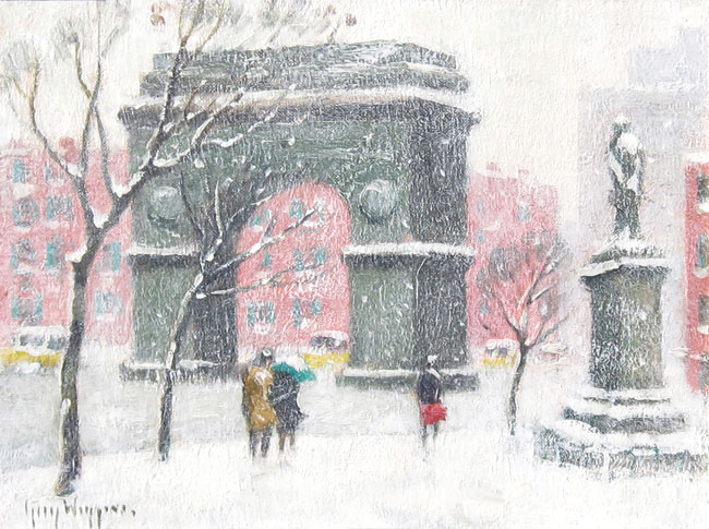 GUY WIGGINS  Washington Square   Oil on artist's board 7 x 10 inches  SOLD