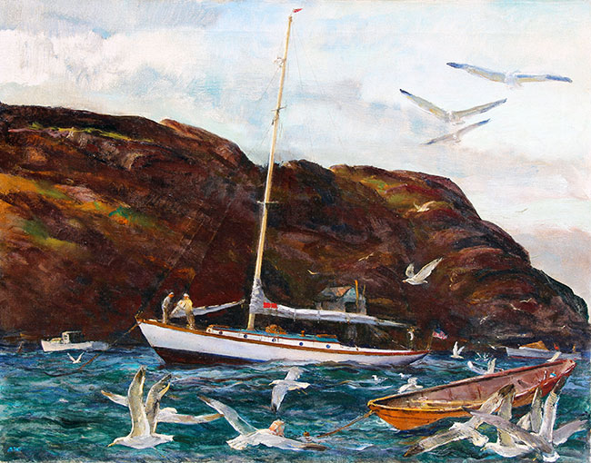ANDREW WINTER  Gulls at Monhegan, Maine   Oil on canvas 22 x 28 inches (56 x 71 cm.)  SOLD