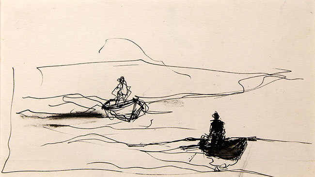 ANDREW WYETH  Hunters in Boats, Maine   Pen and ink on paper Sight: 4¼ x 8¼ inches (12 x 21 cm.); sheet 4½ x 8¾ inches (11.5 x 22.2 cm.)  SOLD