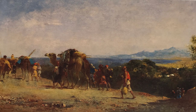 EUGÈNE FROMENTIN  Arab Caravan by the Shore   Oil on panel 10 x 17½ inches (25.4 x 44.4 cm.)  SOLD