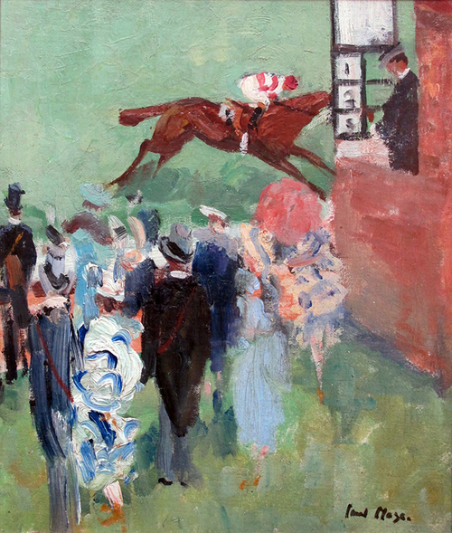 PAUL LUCIEN MAZE    At the Races, Epsom   Oil on canvas 14¼ x 12¼ inches (36.2 x 31 cm.)  SOLD