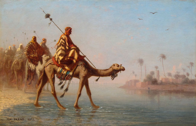 CHARLES THÉODORE FRERE    Caravan in the Desert   Oil on panel 9 x 14 inches (22.8 x 35.5 cm)  SOLD