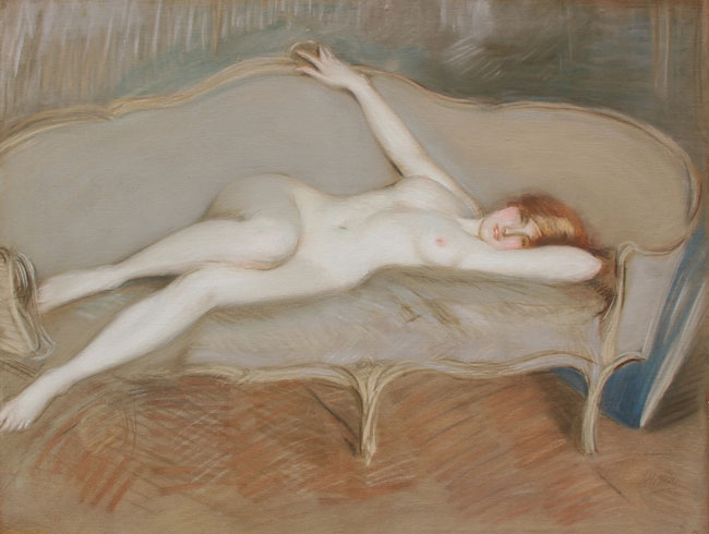 PAUL CÉSAR HELLEU    Nue allongé sur un canapé – Sonia Speranza   Pastel on paper laid down on canvas 29 x 36½ inches (73.5 x 92.5 cm)  SOLD