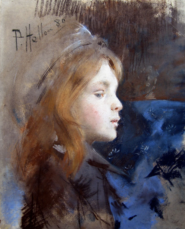 PAUL CÉSAR HELLEU    Profil de jeune fille au béret   (1880) Pastel on paper 15¾ x 12¾ inches (40 x 32.5 cm)  SOLD