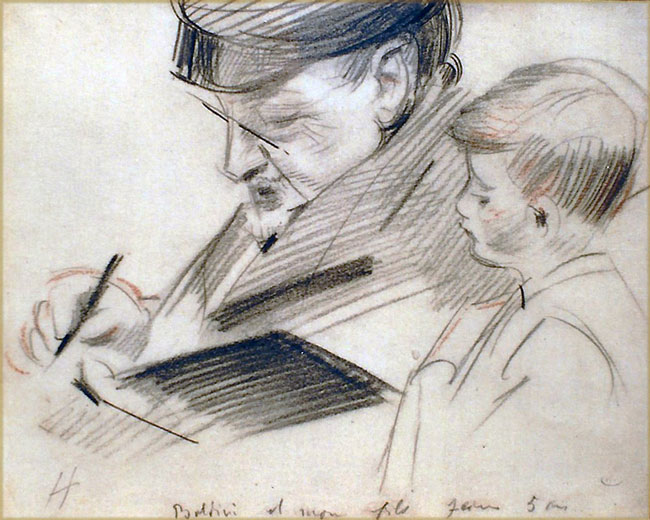 PAUL CÉSAR HELLEU     Giovanni Boldini  Sketching with his Son   Charcoal and chalk on paper 8¼ x 10¼ inches (21 x 26 cm)  SOLD