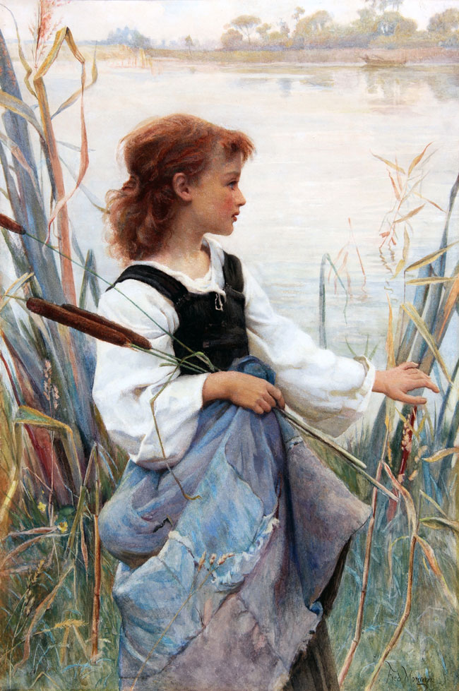 FREDERICK MORGAN    Girl Holding Reeds   Watercolor on paper 21¼ x 14¼ inches (54 x 36.2 cm)  SOLD