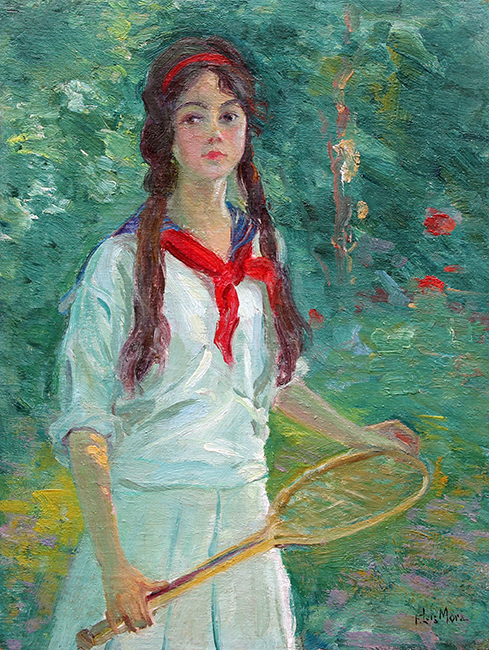 FRANCIS LUIS MORA    The Tennis Girl   Oil on canvas board 15 x 11½ inches (38 x 29.3 cm)  SOLD