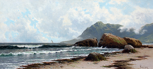 ALFRED THOMPSON BRICHER  Low Tide, Grand Manan Island   Oil on canvas 15 x 33 inches (38.1 x 83.8 cm)  SOLD