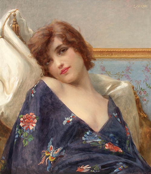 GUILLAUME SEIGNAC Indolence Oil on canvas 24 x 21 inches (61 x 53.2 cm) SOLD