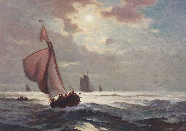 EDWARD MORAN    Moonlight at Sea   Oil on canvas 22 x 32 inches (56 x 81.2 cm)  SOLD