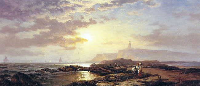 EDWARD MORAN    Coastal Landscape at Sunset   Oil on canvas 13 x 30 inches (33 x 76.2 cm)  SOLD