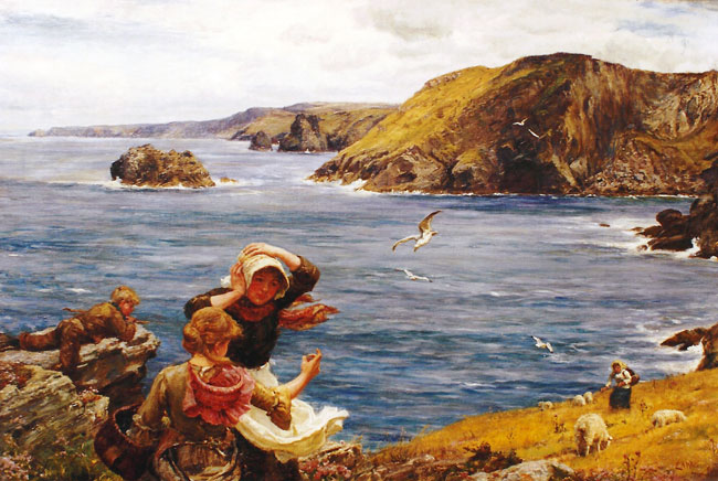 SIR ERNEST WATERLOW  Breezy Tintagel, Cornwall  (1884)  Oil on canvas 24 x 36 inches (61 x 91.4 cm)  SOLD