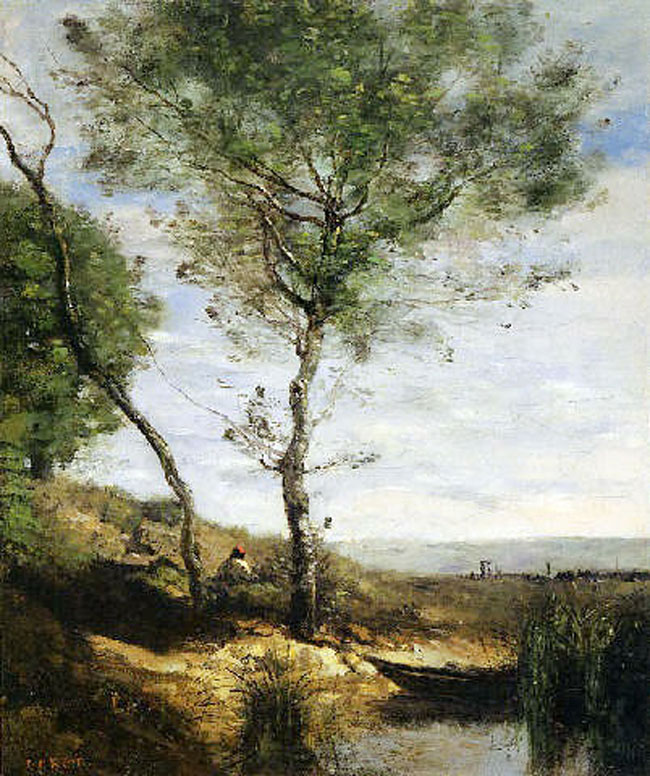 JEAN-BAPTISTE CAMILLE COROT Le Batelier au Repos (c. 1865-70) Oil on canvas 18 x 15 inches (38.5 x 46 cm) SOLD
