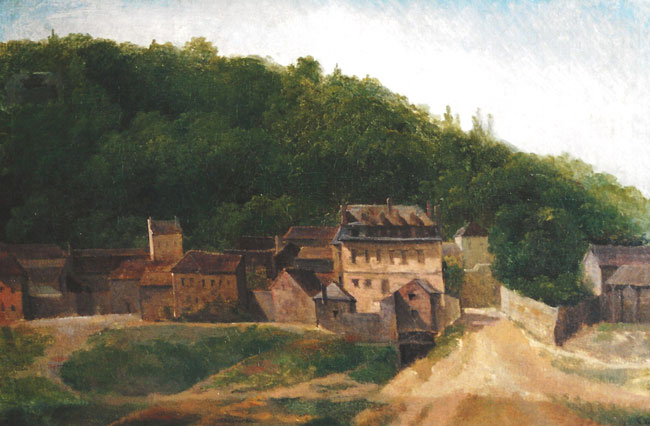 JEAN-BAPTISTE CAMILLE COROT Ville d'Avray - Les Maisons Cabassud (c. 1820-22) Oil on paper laid down on canvas 9½ x 14½ inches (24 x 37 cm) SOLD